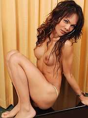 Long haired ladyboy tugs her...