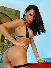 Hot brunette stripping for t...