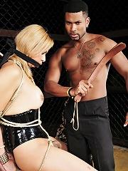 Blonde tranny enslaved and m...