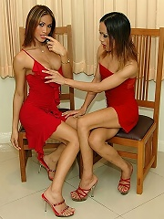 Two hot ladyboys have hot tr...
