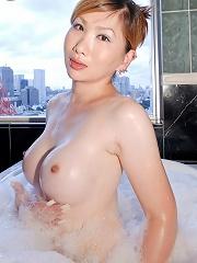 Sayaka has a very sexy body,...