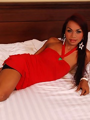 Erotic ladyboy in sexy red d...