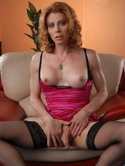 Hot transsexual MILF explori...