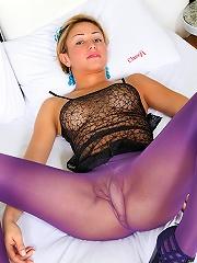 Blonde shemale in purple pan...