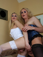 Two tgirls drilling each oth...