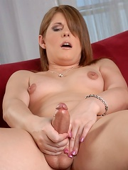Cute TS Amy Daly toying and ...